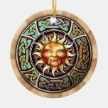 Knotwork Sun Pendant/Ornament Ceramic Ornament