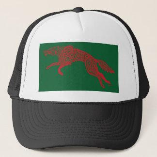 Knotwork Wolf, Red on Green Trucker Hat