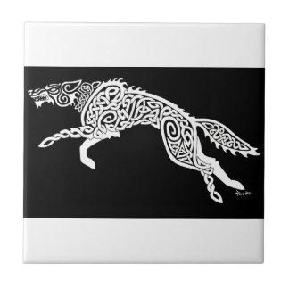 Knotwork Wolf, White on Black Ceramic Tile