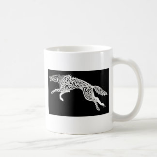 Knotwork Wolf, White on Black Coffee Mug