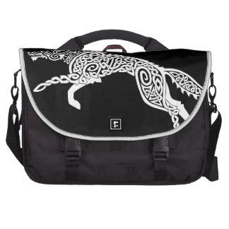 Knotwork Wolf, White on Black Laptop Messenger Bag