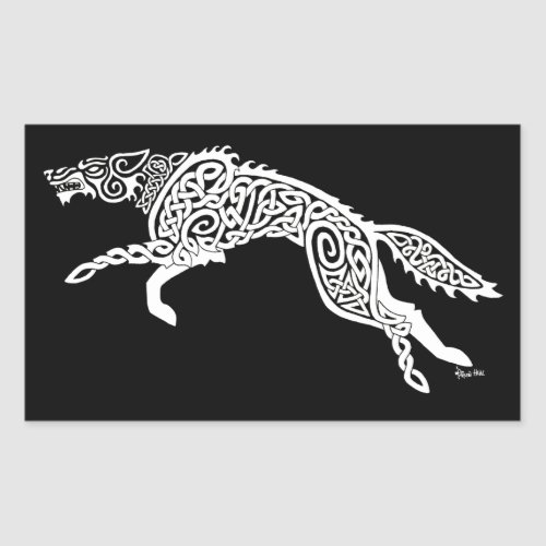 Knotwork Wolf, White on Black