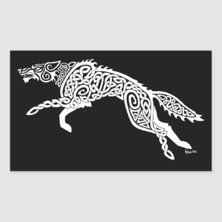 Knotwork Wolf, White on Black Rectangular Sticker