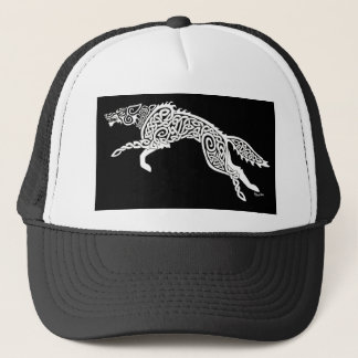 Knotwork Wolf, White on Black Trucker Hat