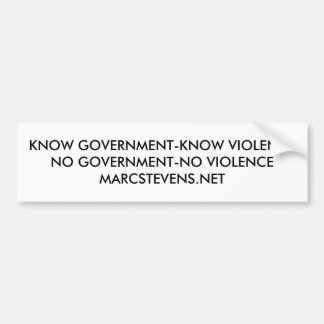 KNOW GOVERNMENT-KNOW VIOLENCE MARC STEVENS STICKER