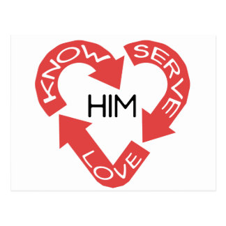 Know Him, Love Him and Serve Him Postcard