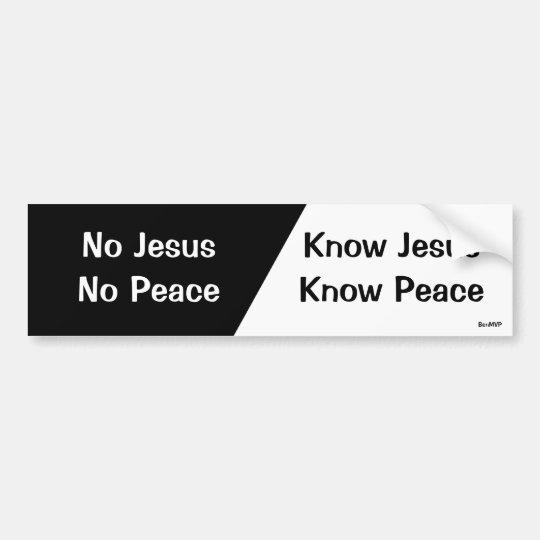 Know Jesus Know Peace Bumper Sticker Zazzle Com