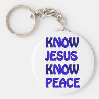 Know Jesus Know Peace No Jesus No Peace Dark Blue Keychain