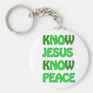 Know Jesus Know Peace No Jesus No Peace Green Keychain