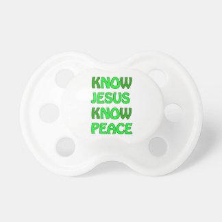 Know Jesus Know Peace No Jesus No Peace Green Pacifier