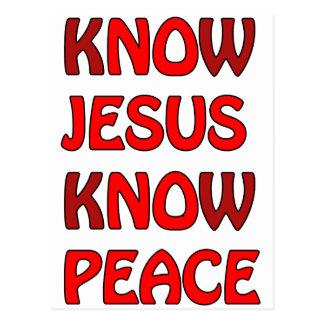 Know Jesus Know Peace No Jesus No Peace In A Red Postcard