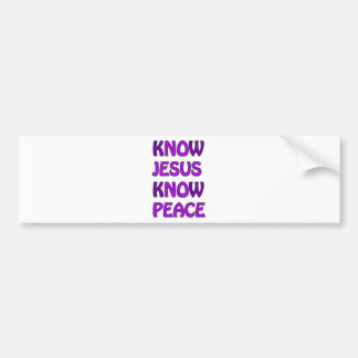 Know Jesus Know Peace No Jesus No Peace In Purple Bumper Sticker