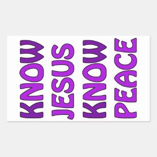 Know Jesus Know Peace No Jesus No Peace In Purple Rectangular Sticker