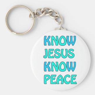 Know Jesus Know  Peace No Jesus No Peace Light Blu Keychain