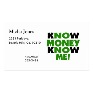 Know Money Know Me Double-Sided Standard Business Cards (Pack Of 100)