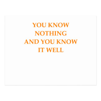 know nothing postcard