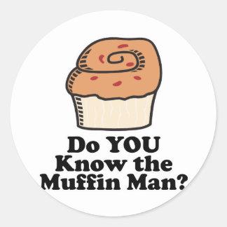 know the muffin man classic round sticker