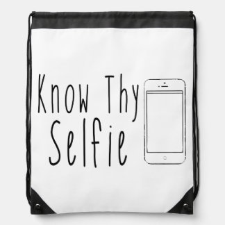 Know Thy Selfie - Funny Quote Drawstring Bags