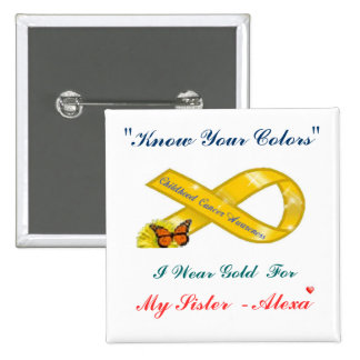 Know Your Colors Cancer Awareness Square Black P Pin