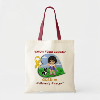 """""""KNOW YOUR COLORS""""...Little Asian Girl with Dog Tote Bag"""