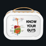 """Know Your Guts (Digestive System Anatomical Humor) Lunch Box<br><div class=""""desc"""">You&#39;ll enjoy wry medical geek attitude with this lunchbox featuring all key parts of the digestive system along with the following sound advice: &quot;Know Your Guts&quot;.  Memorable humorous truism advice lunchbox gift for anyone with guts!</div>"""