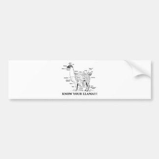 Know Your Llama Anatomy Bumper Sticker