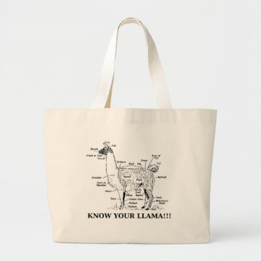 TheBipolarChef Know Your Llama Anatomy Large Tote Bag