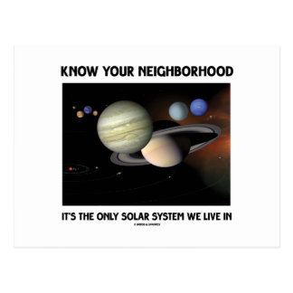 Know Your Neighborhood It's The Only Solar System Postcard
