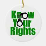 KNOW YOUR RIGHTS - police state/prison/drug war Double-Sided Ceramic Round Christmas Ornament