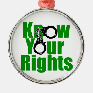 KNOW YOUR RIGHTS - police state/prison/drug war Metal Ornament
