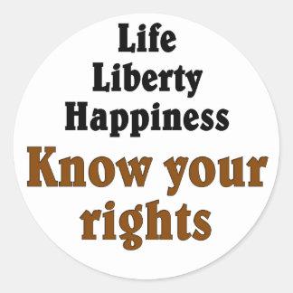 Know your rights round sticker