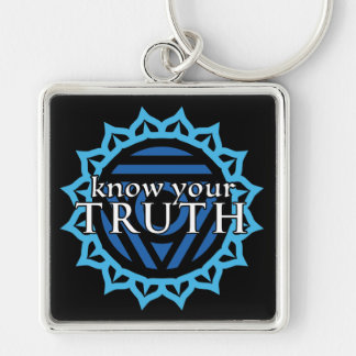 """""""Know Your Truth"""" Throat Chakra Keychain"""