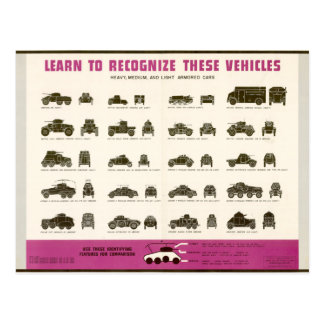 Know Your Vehicles Armored Cars Post Cards
