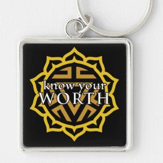 """""""Know Your Worth"""" Solar Plexus Chakra Keychain"""