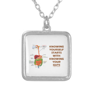 Knowing Yourself Starts With Knowing Your Guts Silver Plated Necklace