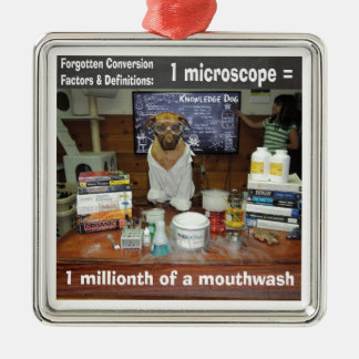 Knowledge Dog Forgotten Conversions Microscope Metal Ornament