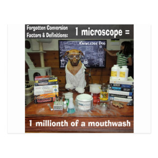 Knowledge Dog Forgotten Conversions Microscope Postcard