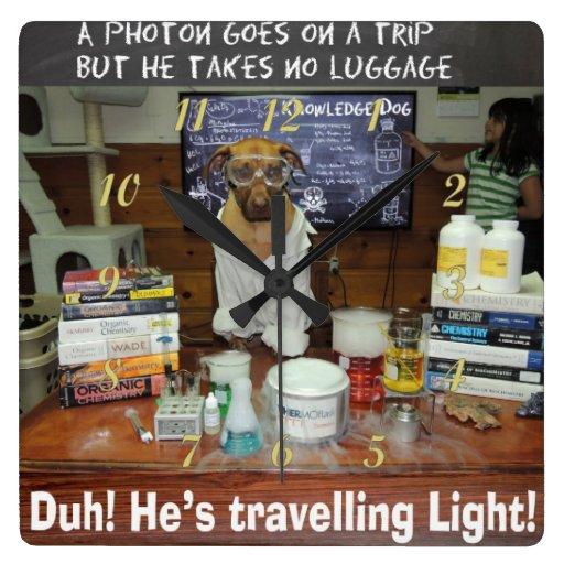 Knowledge Dog Photon Travelling Light Wallclocks