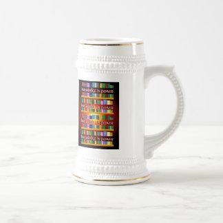 Knowledge is Power Bookscase Mug