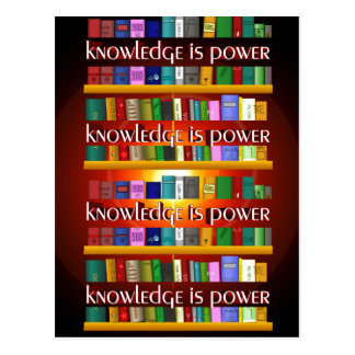 Knowledge is Power Bookscase Postcard