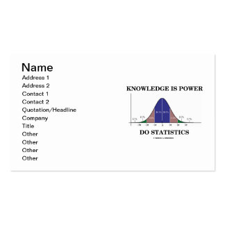 Knowledge Is Power Do Statistics Bell Curve Humor Business Card