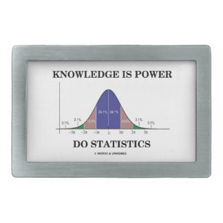 Knowledge Is Power Do Statistics Bell Curve Humor Rectangular Belt Buckle
