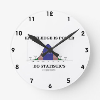 Knowledge Is Power Do Statistics Bell Curve Humor Round Clock
