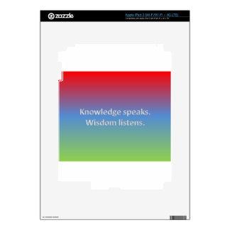 knowledge speaks. wisdom listens decal for iPad 3