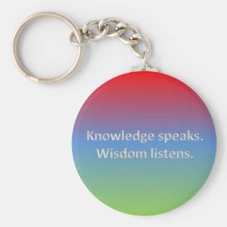 knowledge speaks. wisdom listens keychain