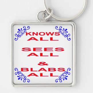 Knows All Sees All Blabs All Keychain