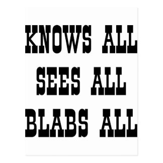 Knows All Sees All Blabs All Postcard