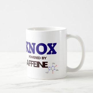Knox powered by caffeine classic white coffee mug