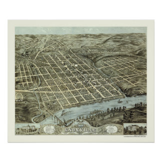 Knoxville, mapa panorámico del TN - 1871 Posters