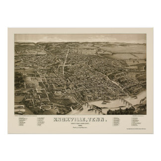 Knoxville, mapa panorámico del TN - 1886 Poster